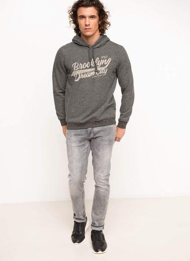 DeFacto Slim Fit Baskılı Sweatshirt Antrasit